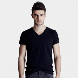 Basique V Neck Slim Fit Black Tee (01.0002)