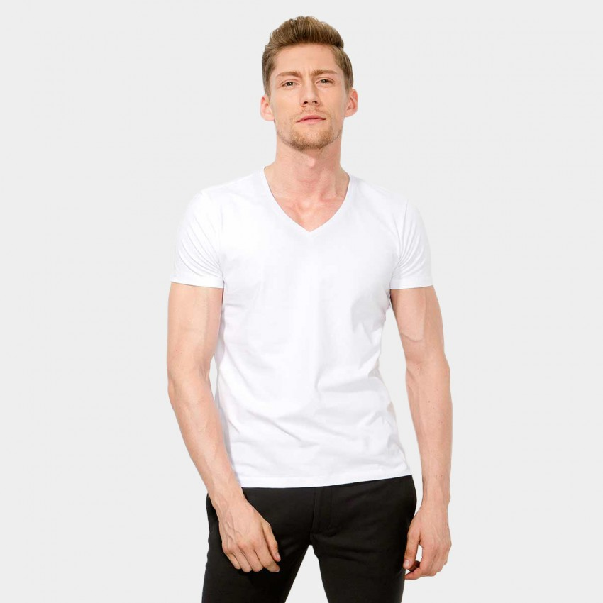 Basique V Neck Slim Fit White Tee (01.0002)