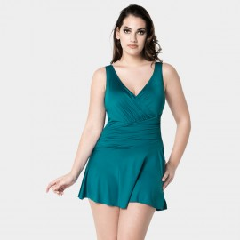 Balneaire Pleated Satin Dressy Green One Piece (60769)