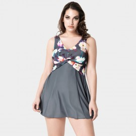 Balneaire Floral Print Grey One Piece (60765)
