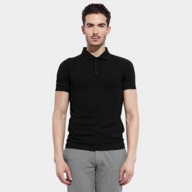 Basique Cotton Plain Black Polo (02.0002)