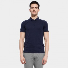 Basique Cotton Plain Navy Polo (02.0002)