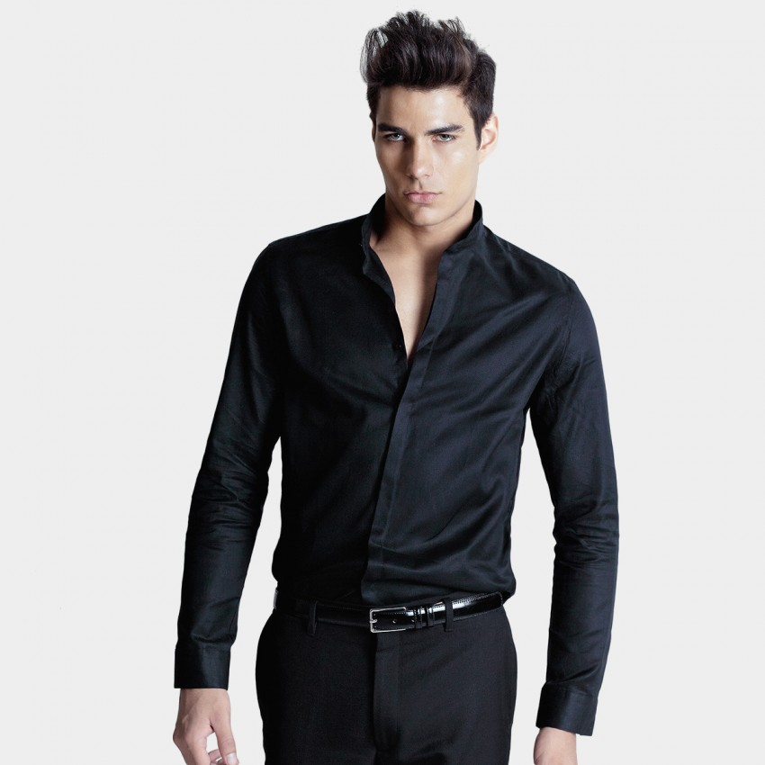 Basique Cotton Long Sleeve Black Shirt (03.0003)
