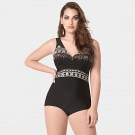 Balneaire Floral Embroidery Black One Piece (60746)