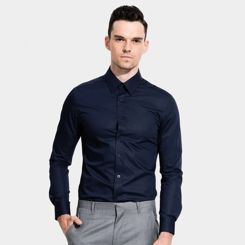 Basique Long Sleeve Navy Shirt (03.0036)