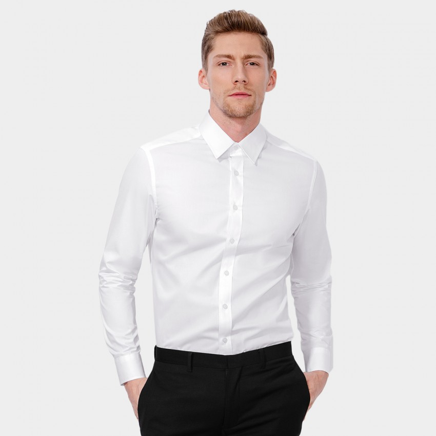 Basique Long Sleeve White Shirt (03.0036)