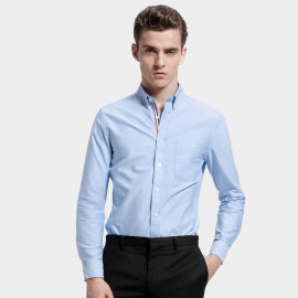 Basique Long Sleeve Pocket Light Blue Shirt (03.0042)