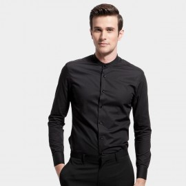 Basique Curved Hem Smart Black Shirt (03.0044)