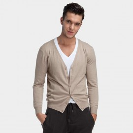 Basique Button Down Collar Knitted Beige Cardigan (05.0002)