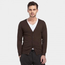 Basique Button Down Collar Knitted Brown Cardigan (05.0002)