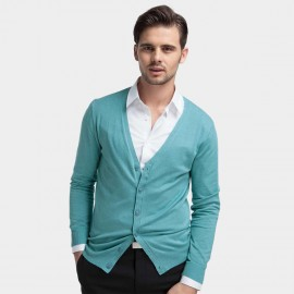 Basique Button Down Collar Knitted Cyan Cardigan (05.0002)