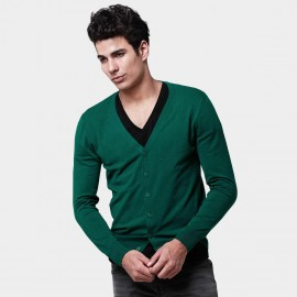 Basique Button Down Collar Knitted Deep Green Cardigan (05.0002)