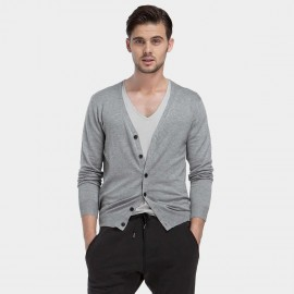 Basique Button Down Collar Knitted Grey Cardigan (05.0002)