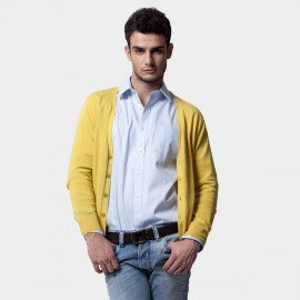 Basique Button Down Collar Knitted Lemon Cardigan (05.0002)