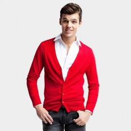 Basique Button Down Collar Knitted Red Cardigan (05.0002)