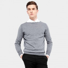 Basique Round Neck Knitted Grey Jumper (05.0019)