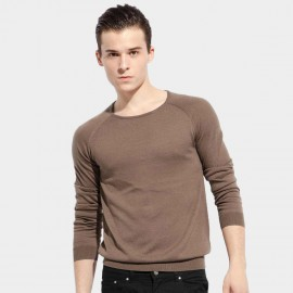 Basique Round Neck Knitted Brown Pullover (05.0022)