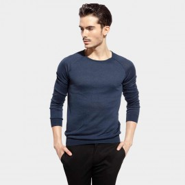 Basique Round Neck Knitted Navy Pullover (05.0022)