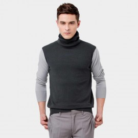 Basique Roll Neck Contrast Grey Knit (05.0029)