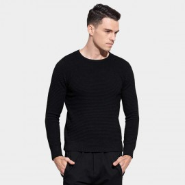 Basique Round Neck Textured Black Knit (05.0036)