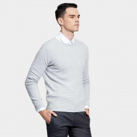 Basique Round Neck Textured Grey Knit (05.0036)