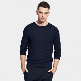 Basique Round Neck Textured Navy Knit (05.0036)