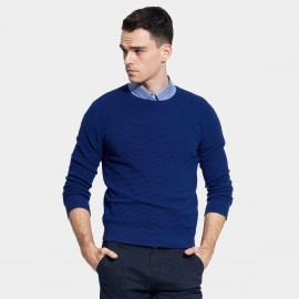 Basique Round Neck Textured Royal Blue Knit (05.0036)