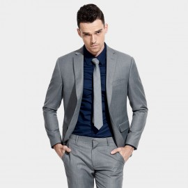 Basique Single-breasted Grey Blazer (06.0014)