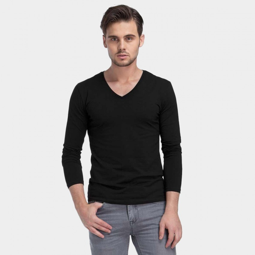 Basique V-neck Long Sleeve Black Tee (18.0013)
