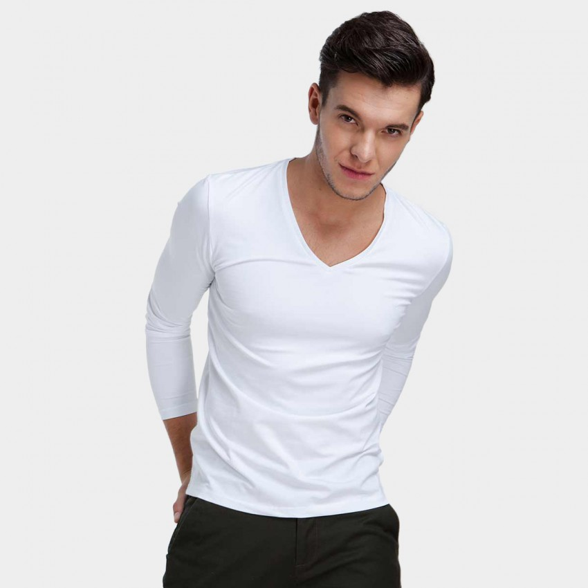 Basique V-neck Long Sleeve White Tee (18.0013)