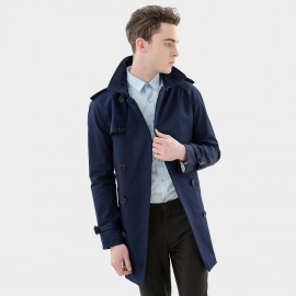 Basique Belted Navy Trench Coat (28.0001)