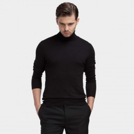 Basique Roll Neck Knitted Black Jumper (05.0015)