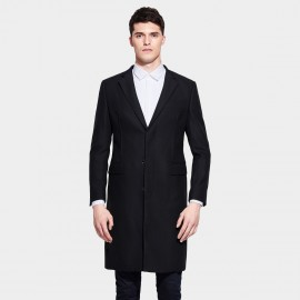 Basique Smooth Bright Notch Lapel Thigh Length Black Coat (28.0005)