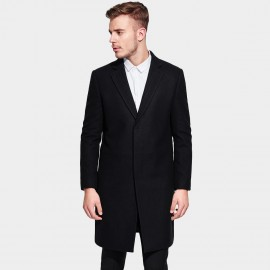 Basique Notch Lapel Buttonless Black Coat (27.0014)