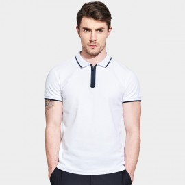 Basique Contrast Lining Zip Up White Polo (02.002)