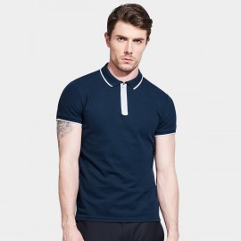 Basique Contrast Lining Zip Up Navy Polo (02.002)