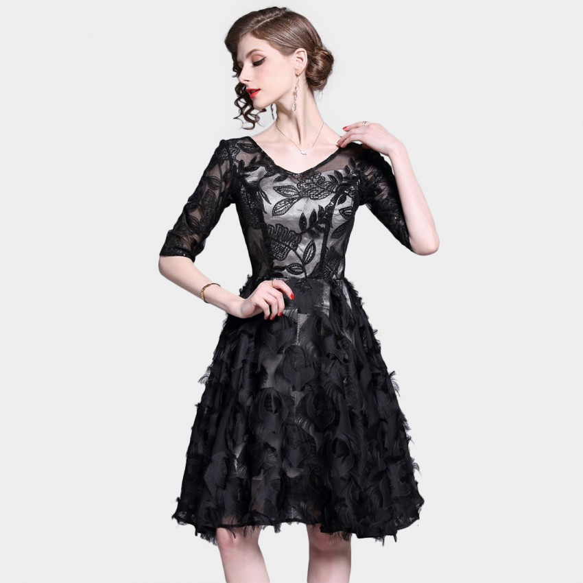 Tina Leaf-Patterned Ruffle Black Dress (6360)