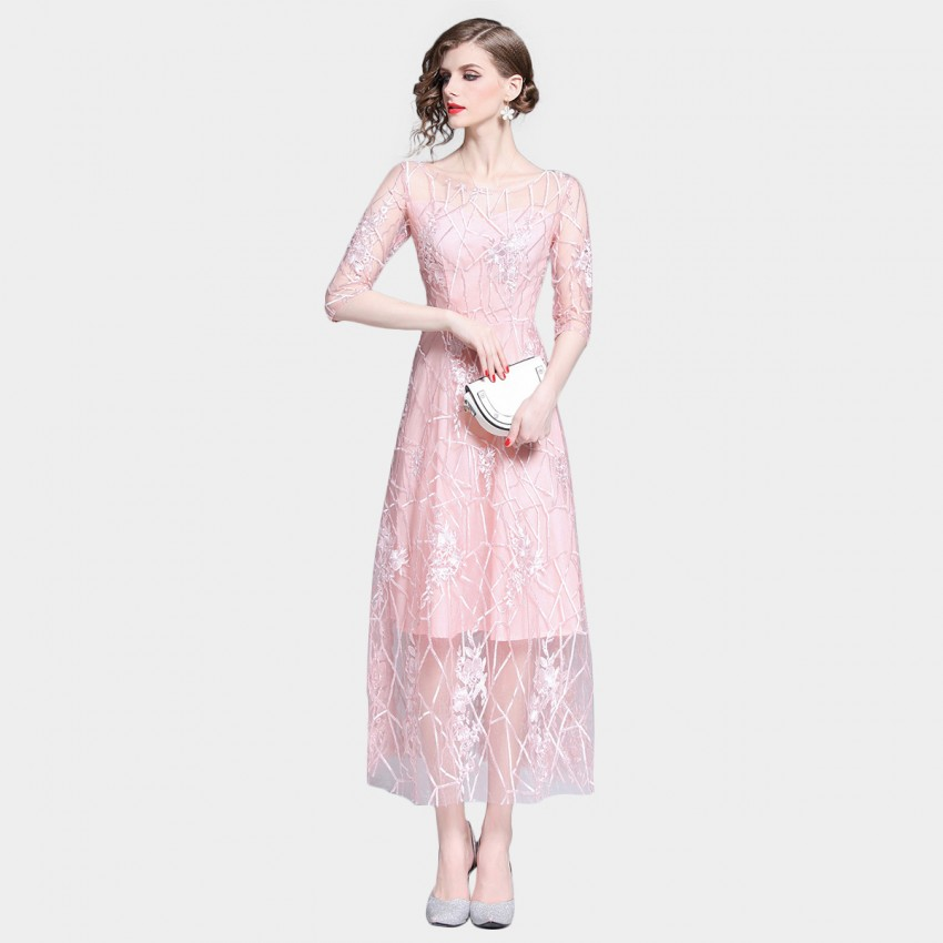 Buy Tina Sheer Geomatric Floral Overlay Pink Dress online, shop Tina with free shipping