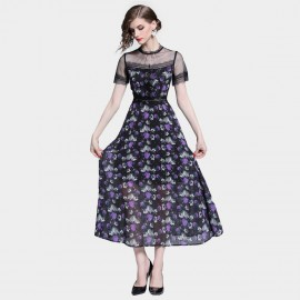 Tina Gothic Floral Black Dress (6383)