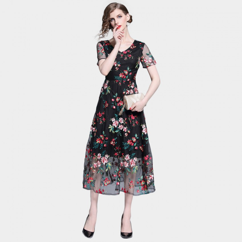 Buy Tina Sheer Red Floral Overlay Black Dress online, shop Tina with free shipping
