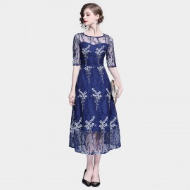 Tina Sheer White Floral Overlay Navy Dress (6390)