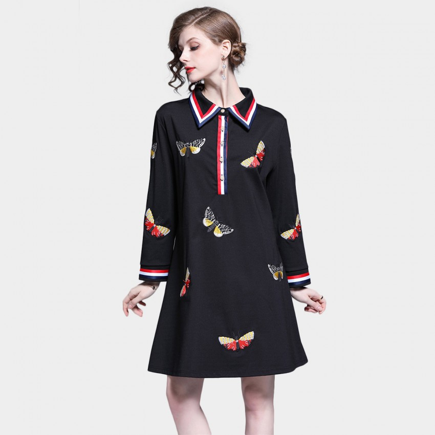 Buy Tina Collared Butterfly Print Black T-Shirt Dress online, shop Tina with free shipping