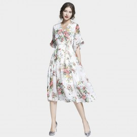 Tina Rustic Floral White Dress (6805)