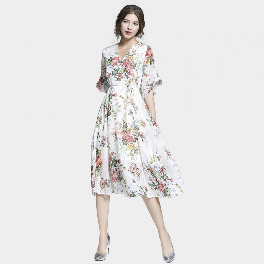 Buy Tina Rustic Floral White Dress online, shop Tina with free shipping