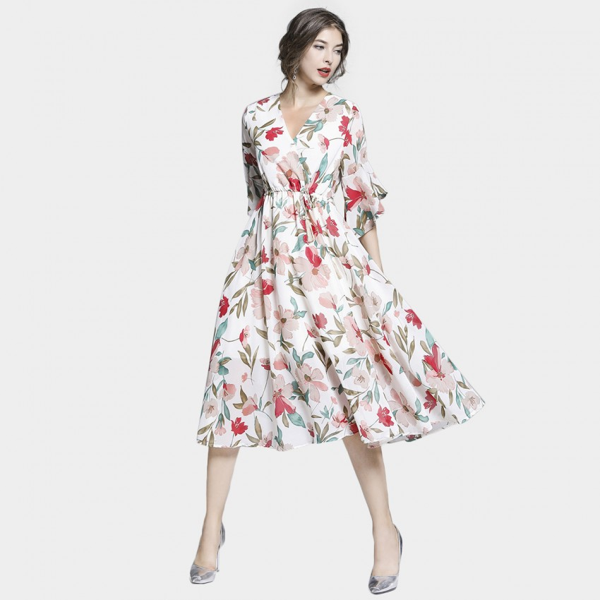 Buy Tina Watercolour Floral White Dress online, shop Tina with free shipping