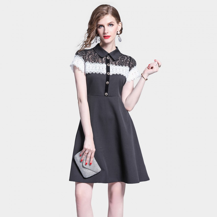 Buy Tina Collared Sheer Lace Detailed Black Dress online, shop Tina with free shipping