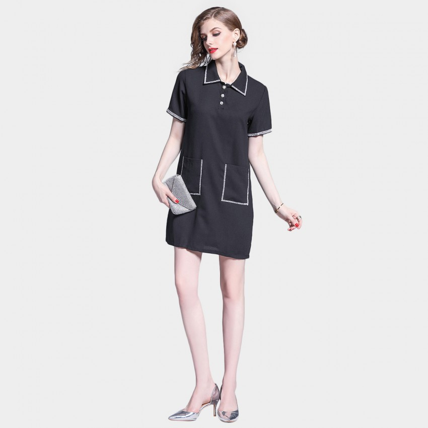 Buy Tina Classic Collared Black T-Shirt Dress online, shop Tina with free shipping