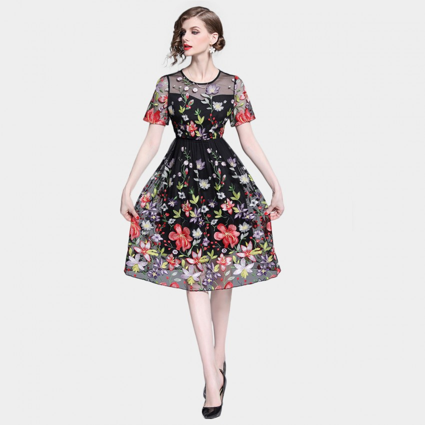 Tina Sheer Floral Burst Overlay Black Dress (6810)