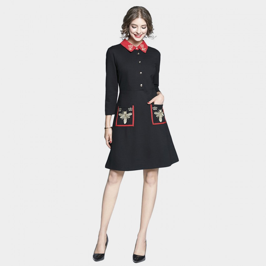 Buy Tina Queen Bee Collared Black Dress online, shop Tina with free shipping