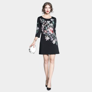 Tina Pastel Floral Long Sleeved Black Dress (6813)